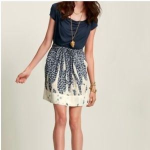 CAbi Bella Blue Tan Leopard Animal Print Skirt